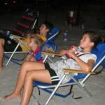Tori (9) & Jonah (12) watching the fireworks in our Adult Beach Chairs.